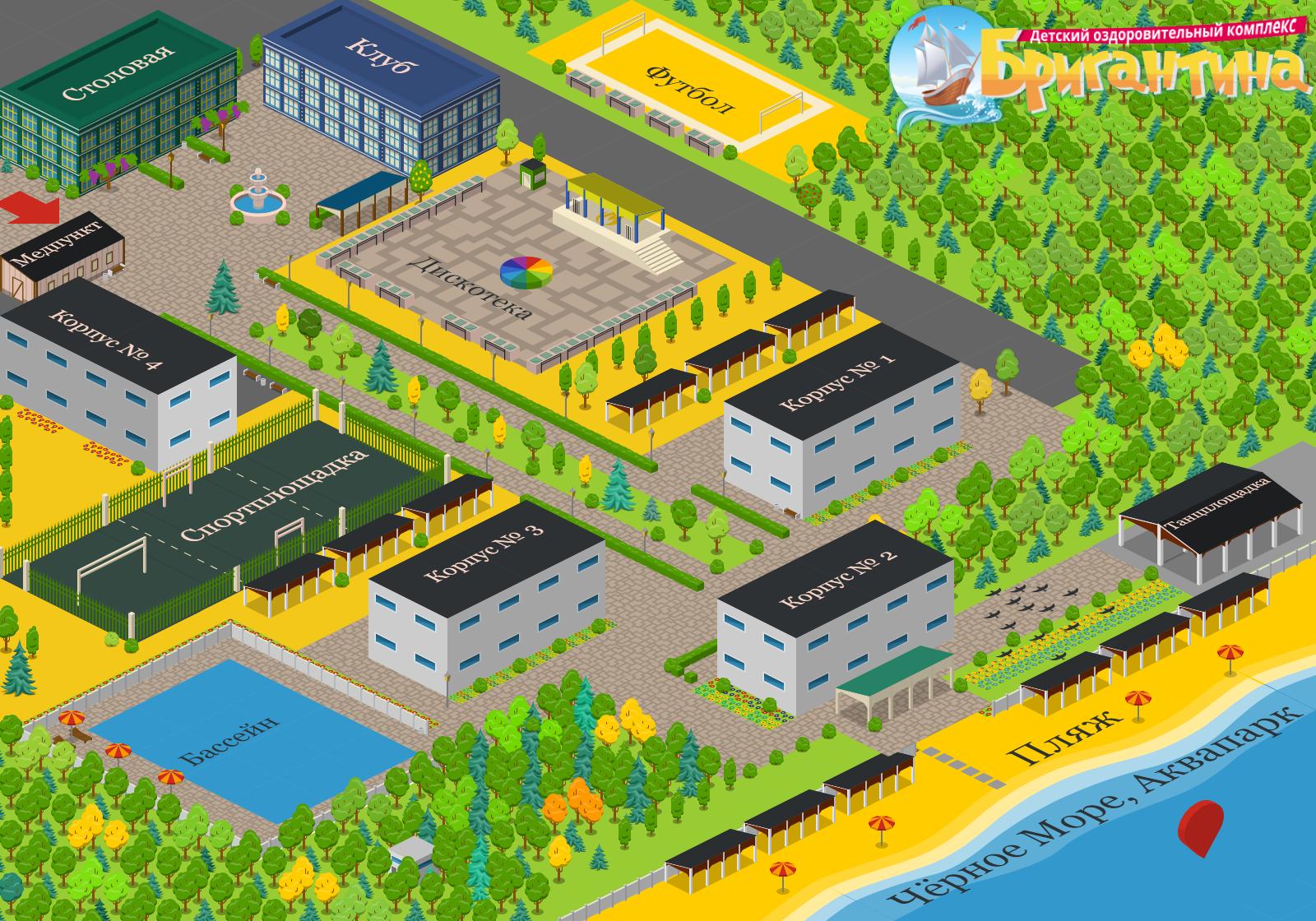 3D карта лагеря Бригантина